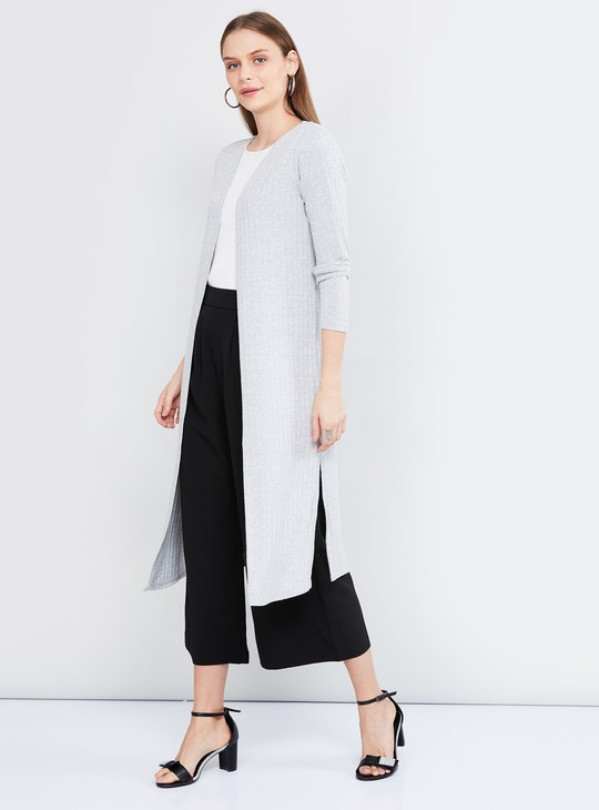 MAX Ribbed Long Open-Front Shrug