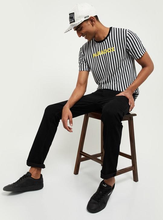 MAX Typographic Print Striped Crew-Neck T-shirt
