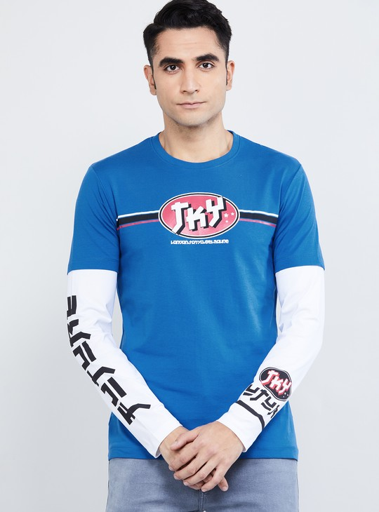 MAX Printed Crew Neck Twofer T-shirt