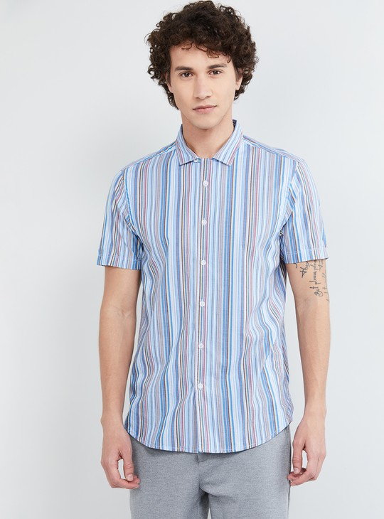 MAX Striped Short Sleeves Slim Fit Casual Shirt