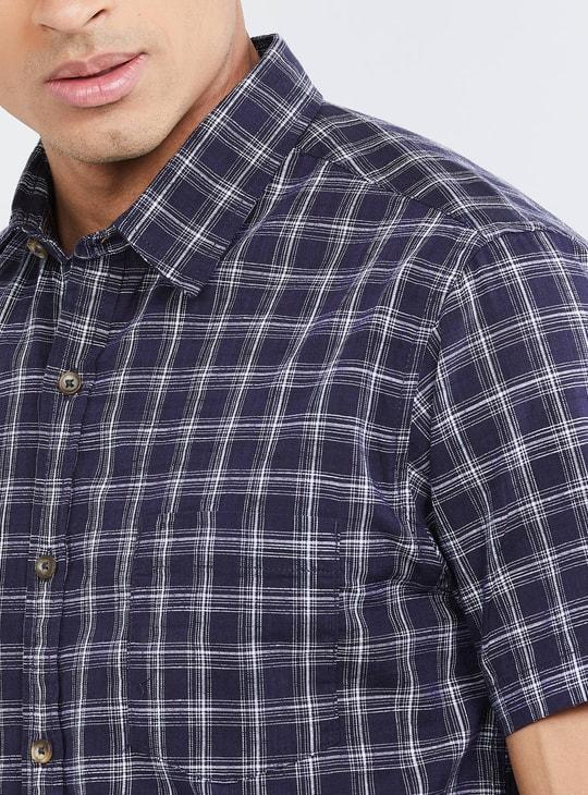 MAX Checked Short Sleeves Casual Slim Fit Shirt