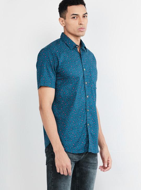MAX Printed Short Sleeves Casual Slim Fit Shirt
