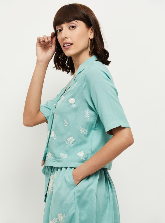 MAX Embroidered Button-Down Boxy Top