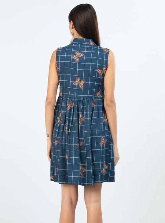 MAX Floral Print Checked Sleeveless Shift Dress