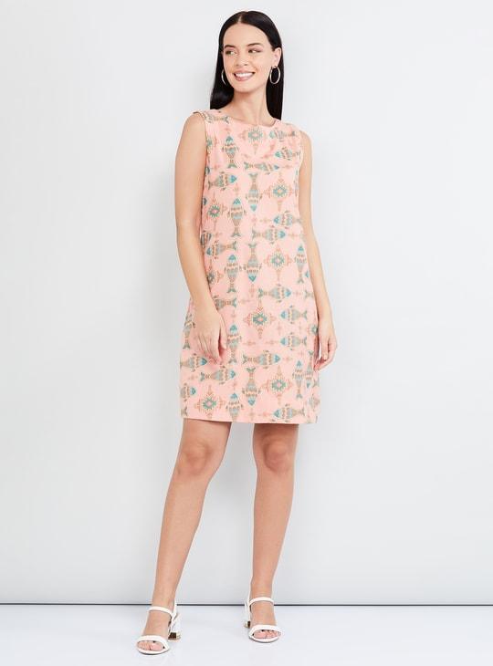 MAX Printed Sleeveless Shift Dress