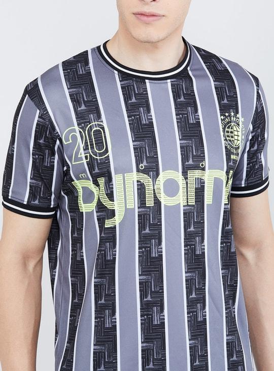 MAX Freshon & Neudri by N9 Striped Slim Fit Crew Neck T-shirt