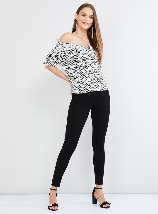 MAX Polka-Dot Print Off-Shoulder Top