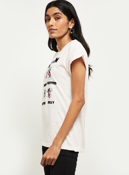 MAX Mickey Mouse Print Round-Neck T-shirt