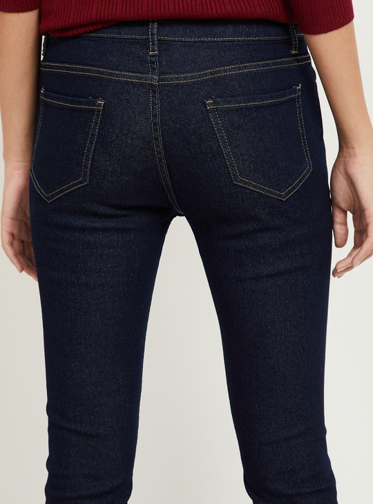 MAX Solid Pencil Fit Ankle-Length Jeans