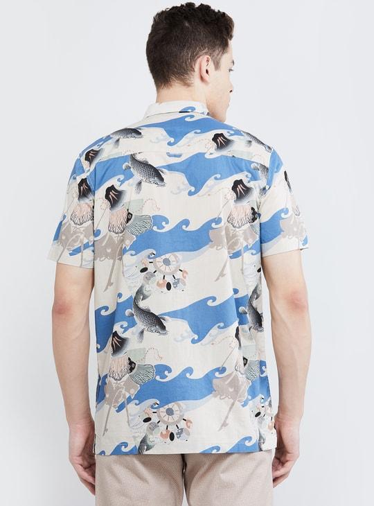 MAX Tropical Print Short Sleeves Slim Fit Casual Shirt