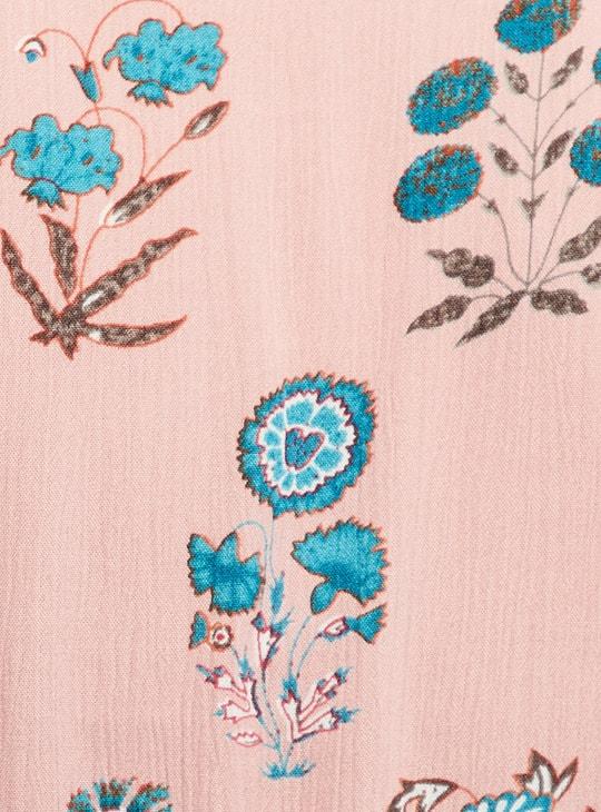 MAX Floral Print Flutter Sleeves A-line Dress