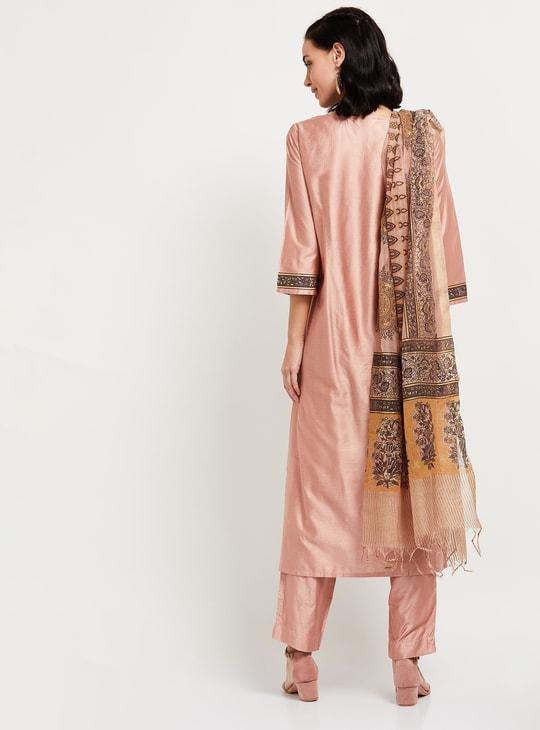 MAX Printed Kurta with Solid Salwar and Tassel Detailed Dupatta