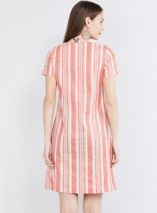 MAX Striped V-neck Shift Dress with Patch Pockets