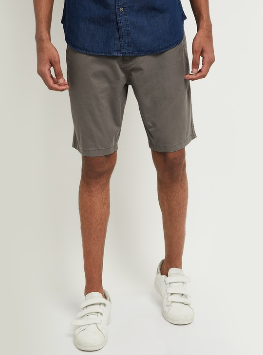 MAX Solid Stretchable Casual Chino Shorts