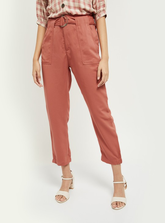 MAX Solid Cropped Trousers with Fabric Belt
