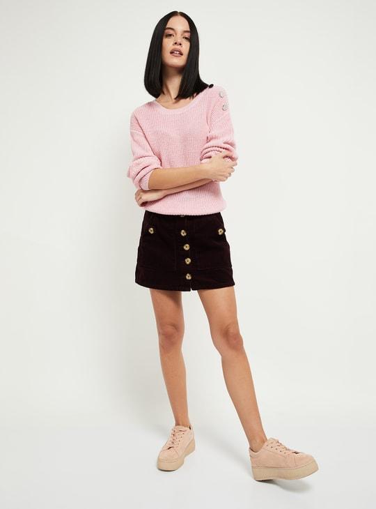 MAX Patterned Knit Drop-Shoulder Sweater