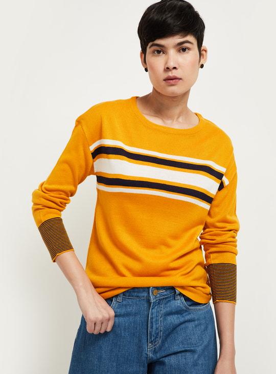 MAX Striped Round Neck Sweater