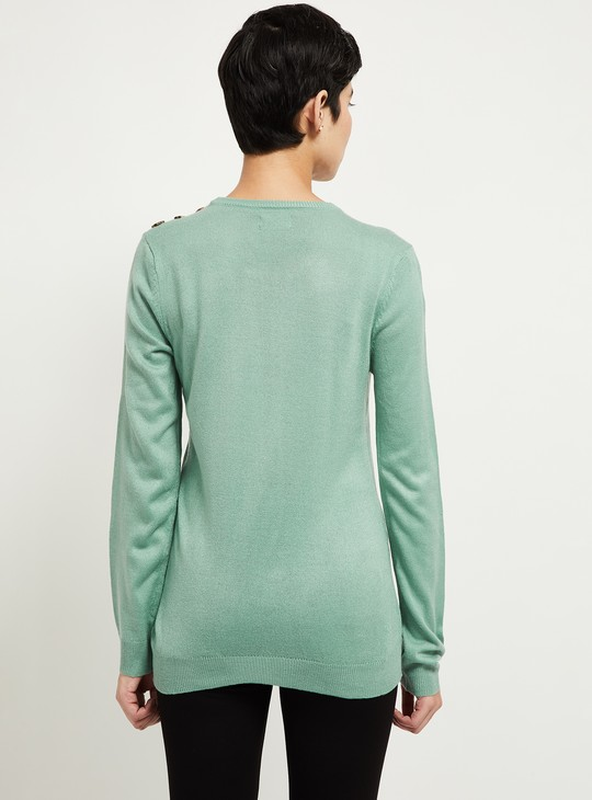 MAX Solid Full Sleeves Sweater with Button Detail