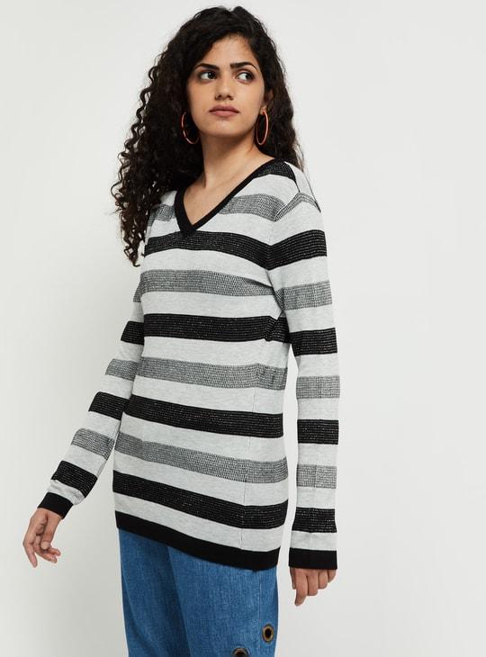 MAX Striped V-neck Sweater