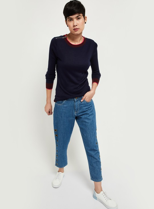 MAX Solid Full Sleeves Sweater with Zipped Shoulder