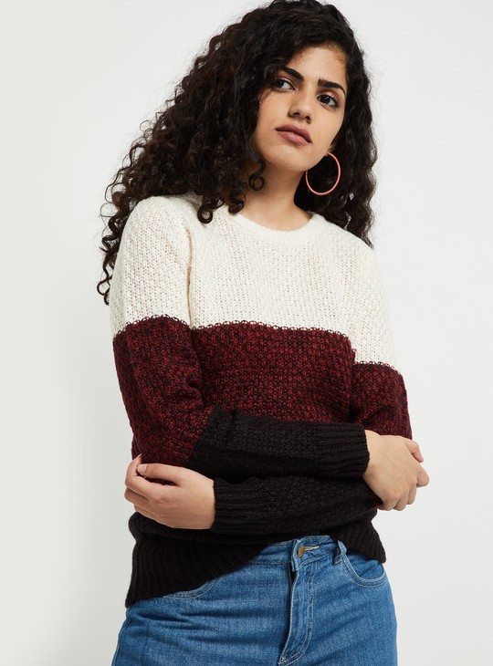 MAX Patterned Knit Colourblock Sweater