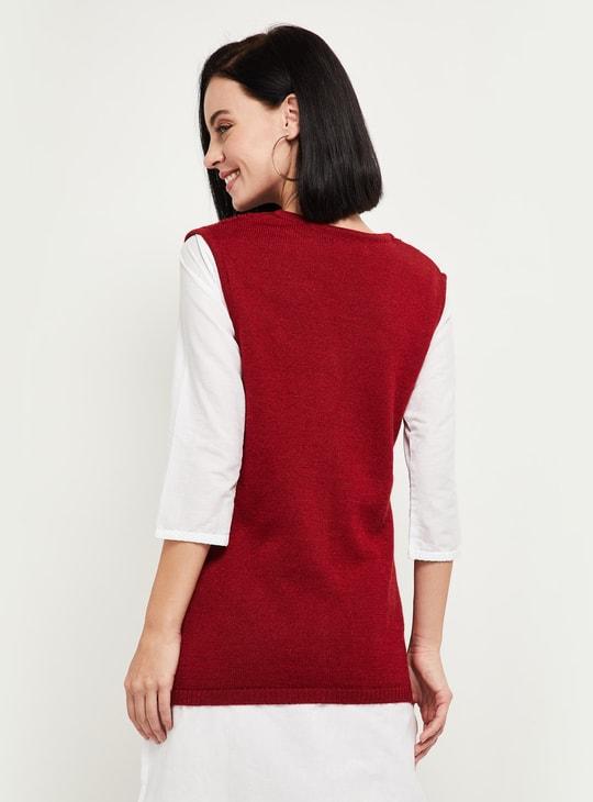 MAX Patterned Knit V-neck Sleeveless Cardigan