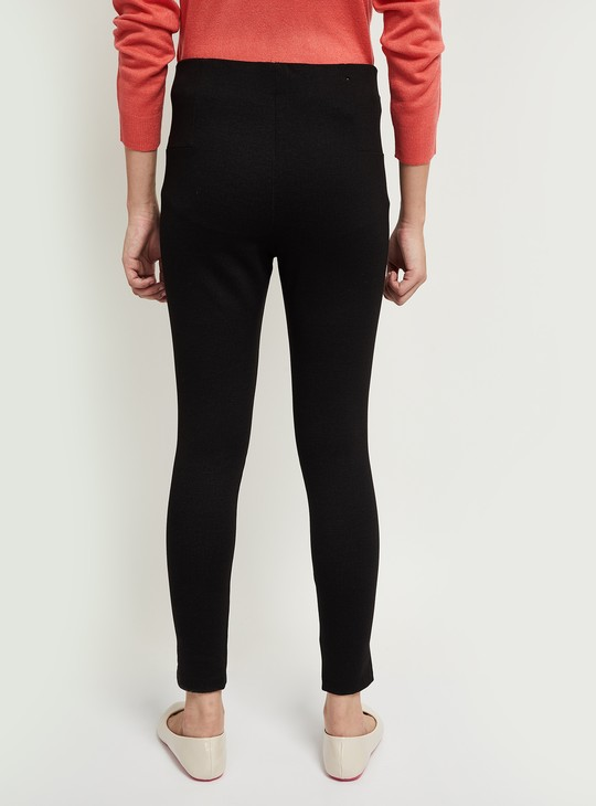 MAX Solid Panelled Treggings with Zipped Pockets