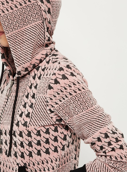 MAX Patterned Hooded Sweater with Zip-Closure