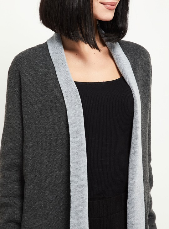 MAX Textured Short Shrug with Extended Lapel