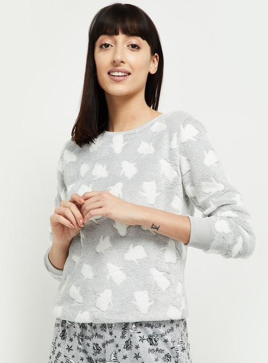 MAX Penguin Patterned Textured Lounge Sweatshirt