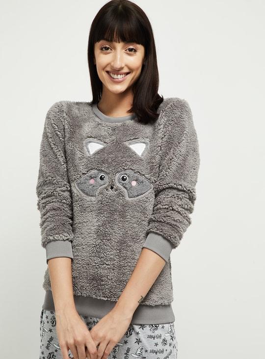 MAX Fuzzy Round Neck Lounge Sweater