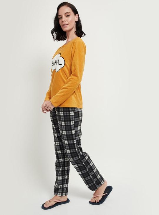 MAX Printed T-shirt and Checked Pyjama Set