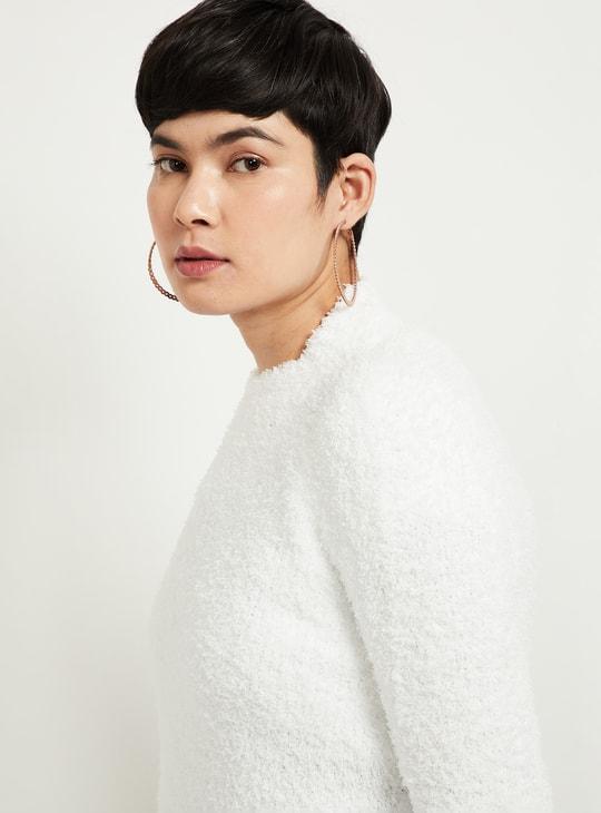 MAX Solid Fuzzy Round Neck Sweater
