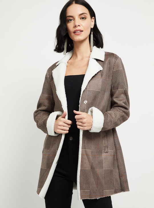 MAX Checked Jacket with Notched Lapel