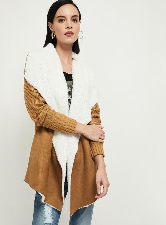 MAX Solid Faux-Fur Knitted Drape-Vest Coat