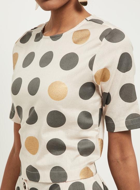 MAX Printed Short-Sleeves Short Top