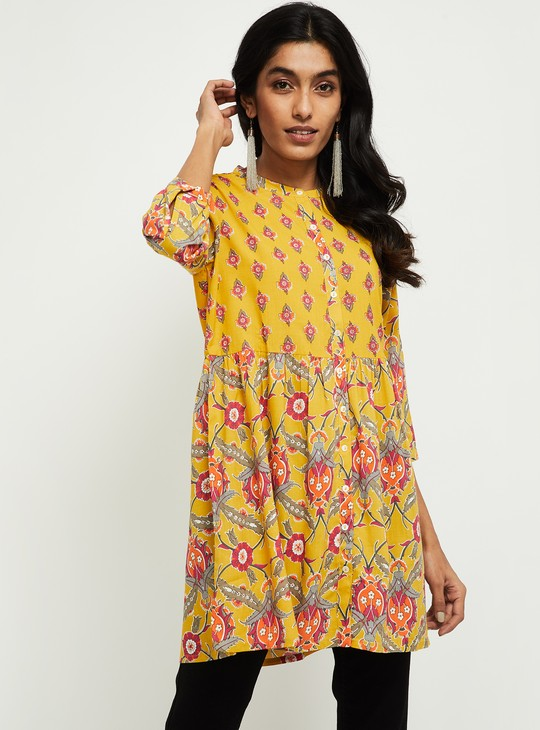 MAX Floral Print Tunic with Button Placket