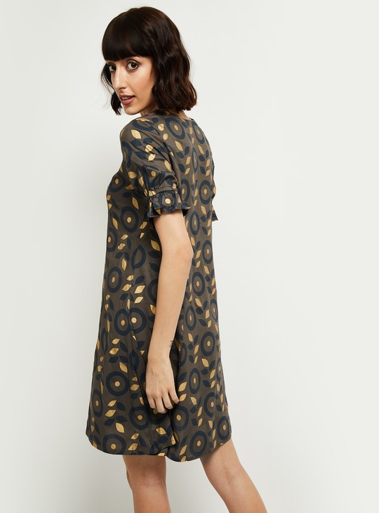 MAX Printed A-line Dress with Bell Sleeves