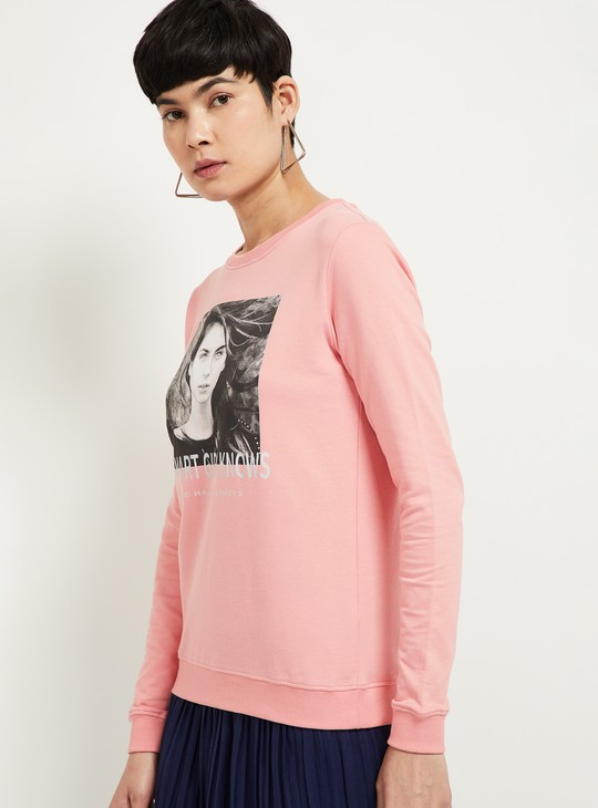 MAX Full Sleeves Sweatshirt with Chest Print