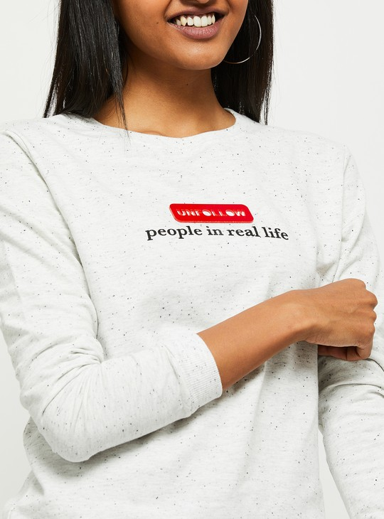 MAX Typographic Print Speckled Sweatshirt
