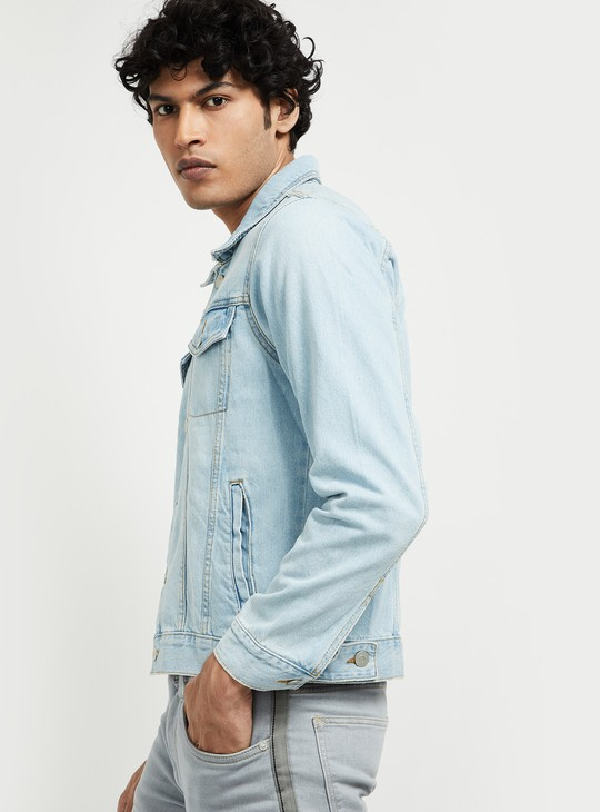 MAX Solid Button-Front Denim Jacket