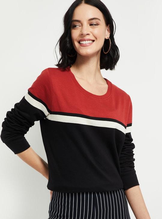MXAX Colorblocked Round Neck Sweatshirt