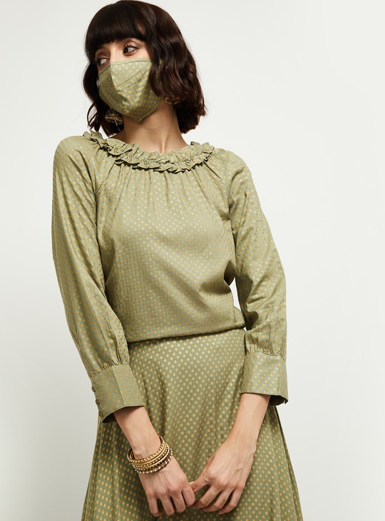 MAX Printed Ruffled Neck Top with Face Mask