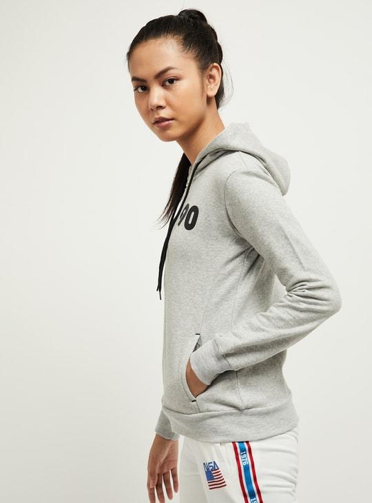MAX Textured Zip-Front Hooded Sweatshirt