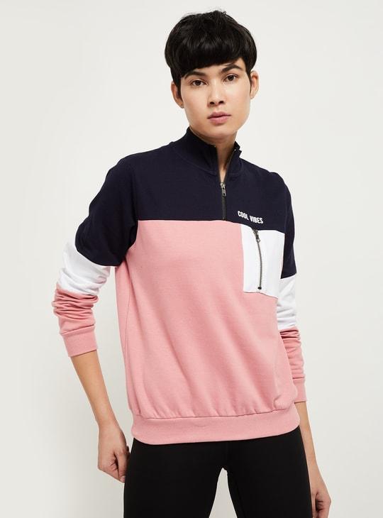 MAX Colorblocked High-Neck Sweatshirt