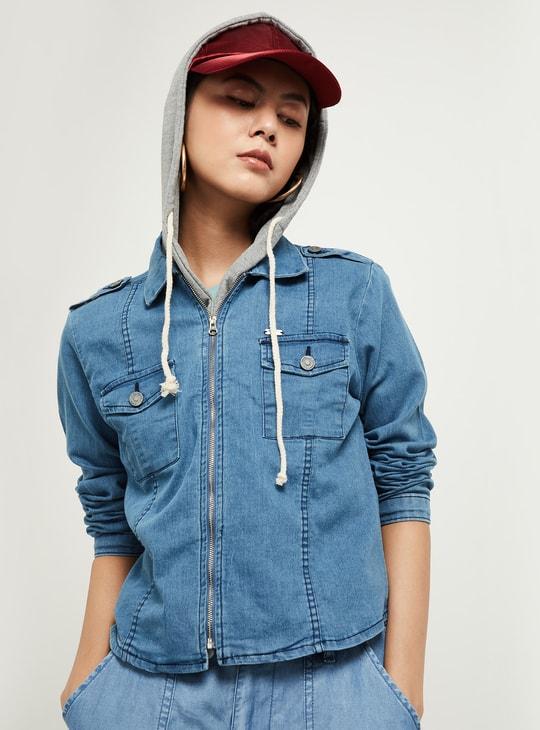 MAX Solid Hooded Denim Jacket