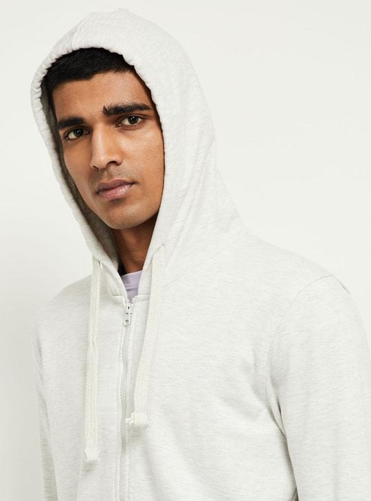 MAX Solid Hooded Zip-Closure Sweatshirt