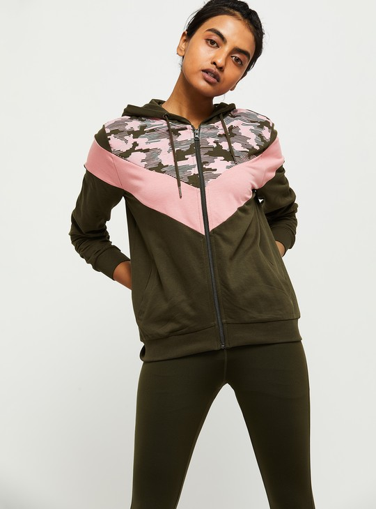 MAX Camouflage Print Colourblock Hooded Jacket