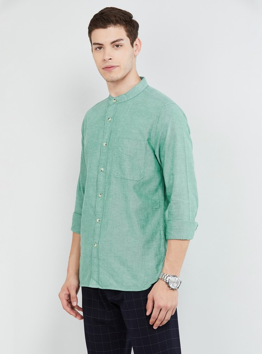 MAX Solid Slim Fit Casual Shirt with Mandarin Collar