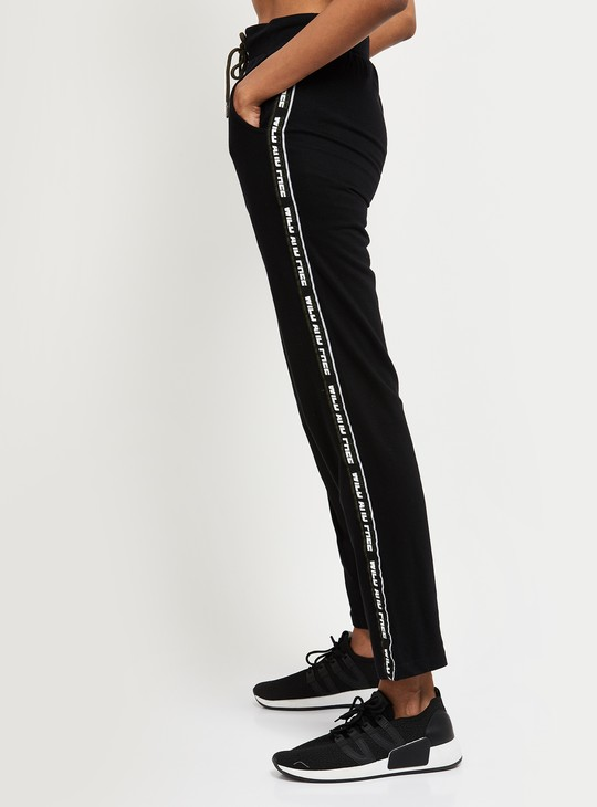 MAX Ankle-Length Track Pants with Printed Taping